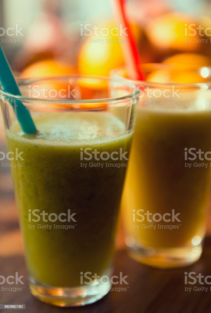 Freshly blended fruit smoothies stock photo