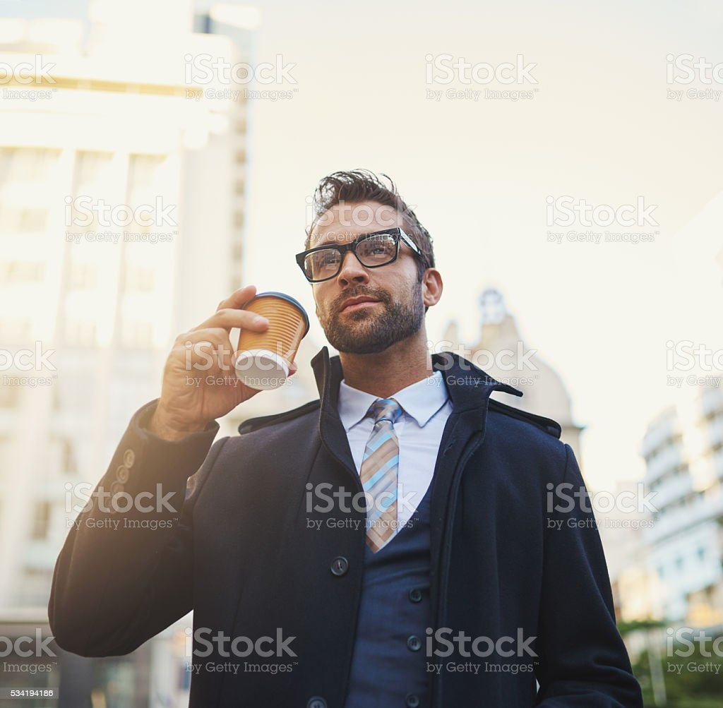 Freshly brewed for a busy guy on the go stock photo