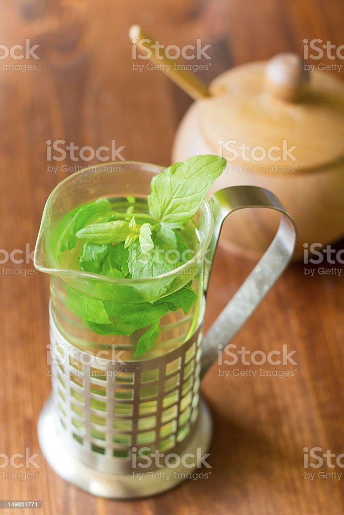 Freshly brewed mint tea royalty-free stock photo