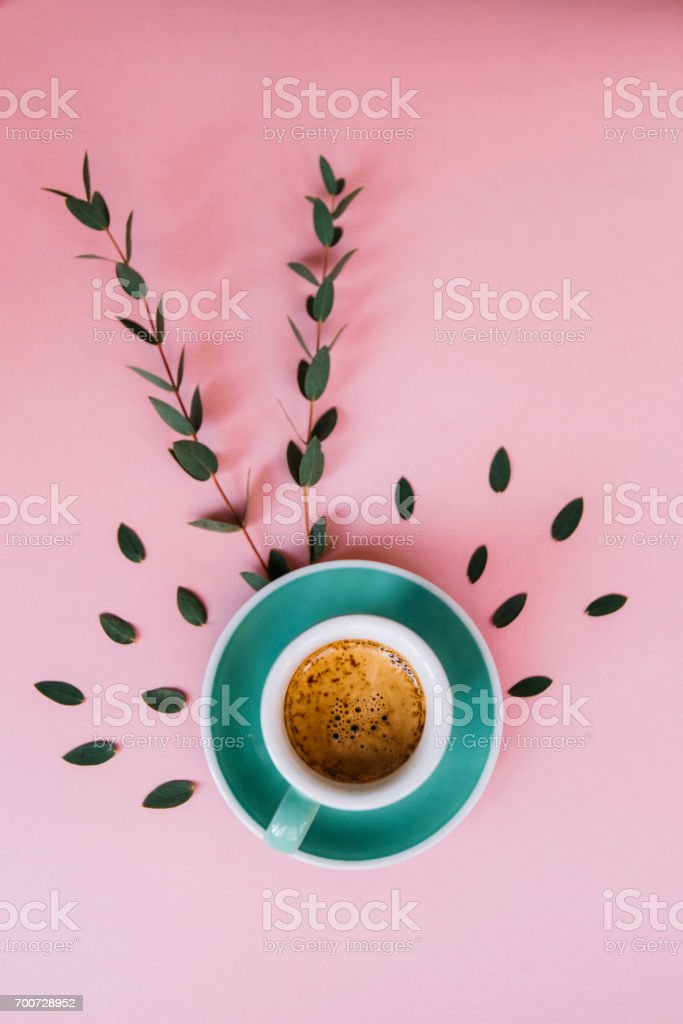 Freshly brewed morning cup of strong espresso coffee with a beautiful thick tiger crema, pink background with eucalyptus leaves decoration, flat lay stock photo