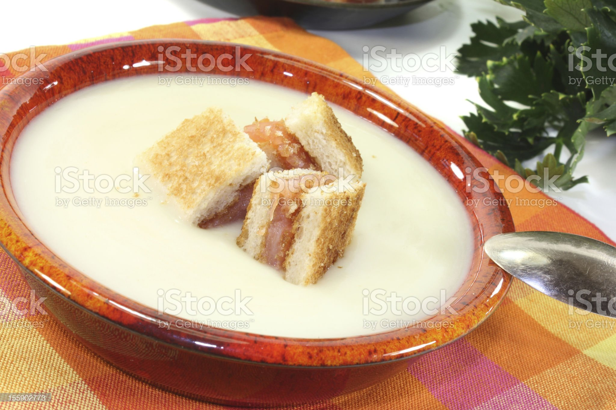 freshly cooked Cream of celery soup with salmon croutons royalty-free stock photo