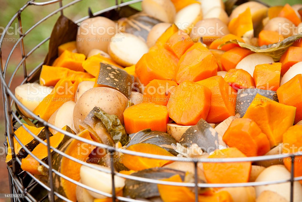 freshly cooked vegetables in steamer stock photo
