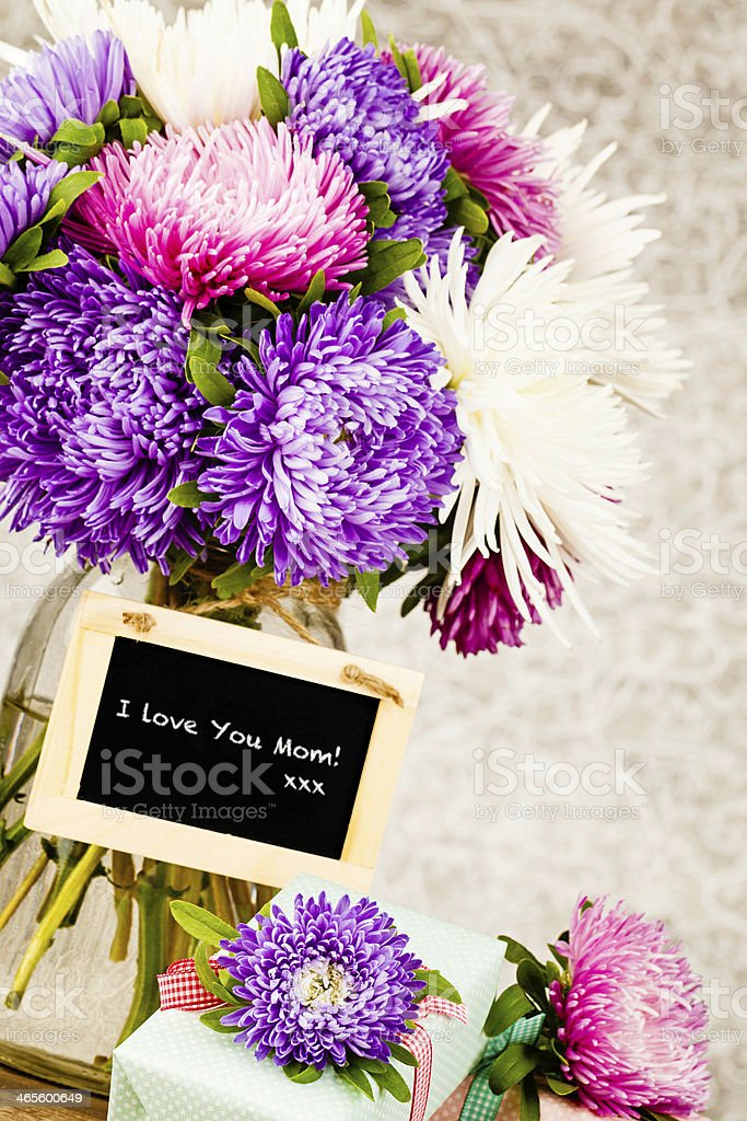 Freshly Cut Asters with I Love You Messages stock photo
