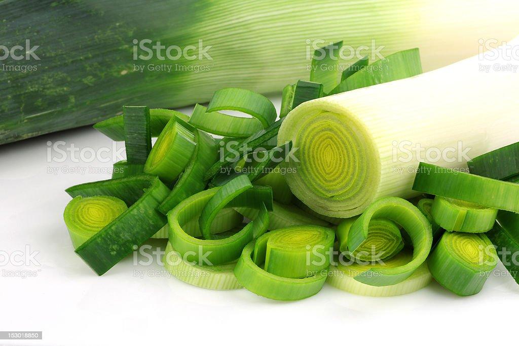 freshly cut leek stock photo