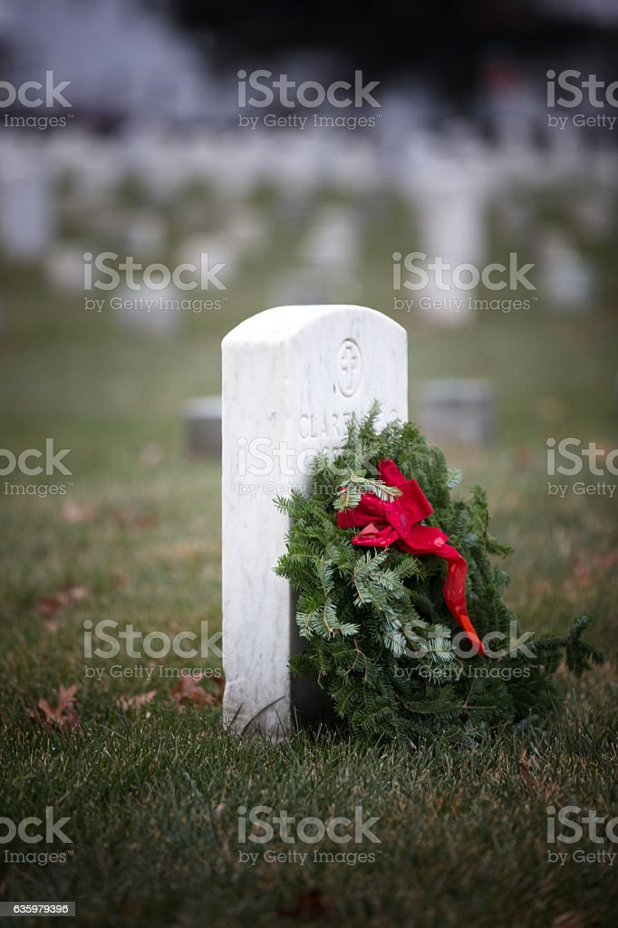 Freshly decorated grave at Arlington National Cemetery stock photo
