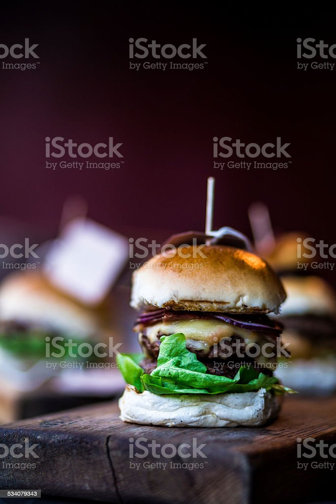 Freshly Flame Grilled Burgers stock photo