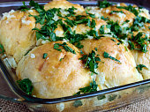 Freshly fragrant buns with garlic and herbs.