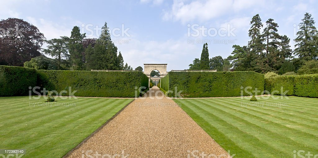 Freshly greenery in front of home estate stock photo