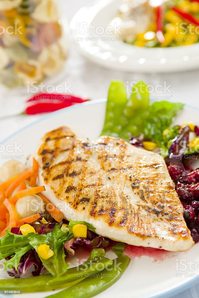 Freshly grilled chicken breast with vegetables stock photo