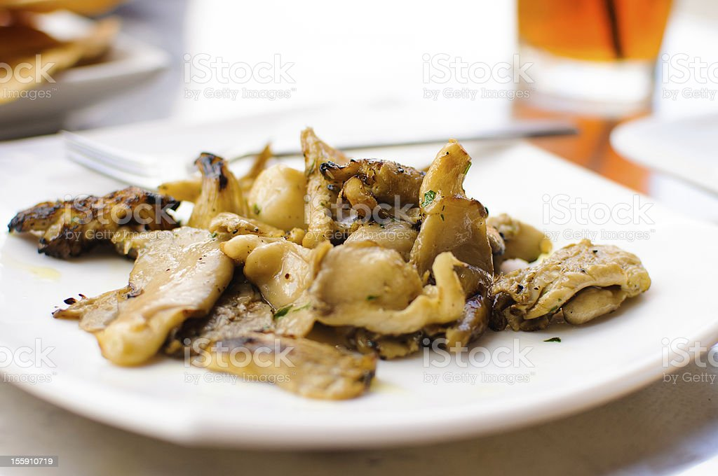 Freshly grilled oyster mushrooms. stock photo
