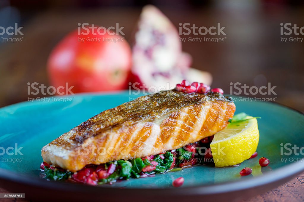 Freshly grilled salmon stock photo