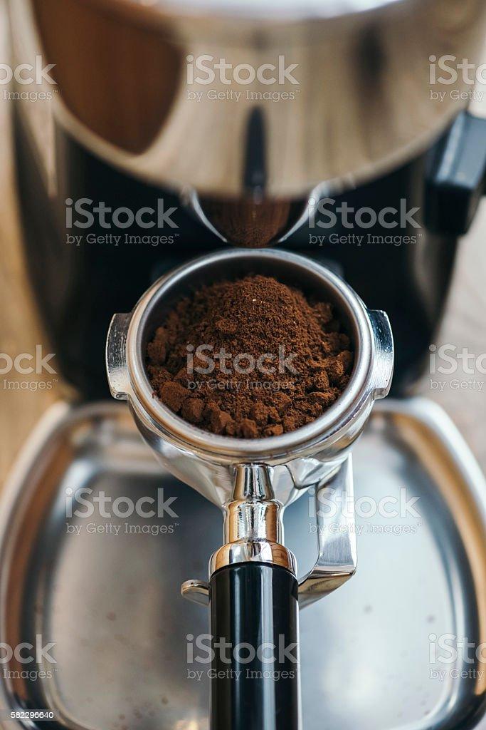 Freshly ground coffee beans stock photo
