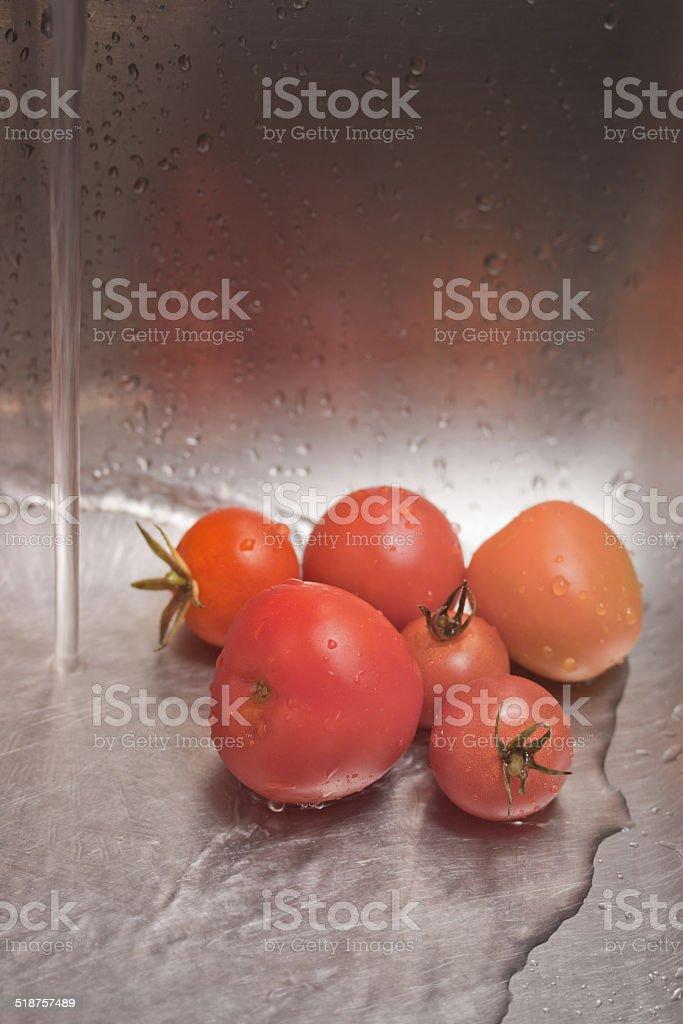 Freshly harvested tomatoes stock photo