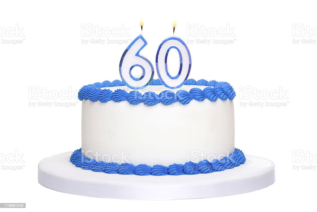 Freshly made birthday cake and number 60 candles stock photo