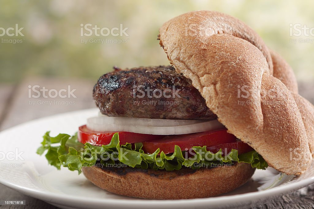 A freshly made burger with an open top stock photo