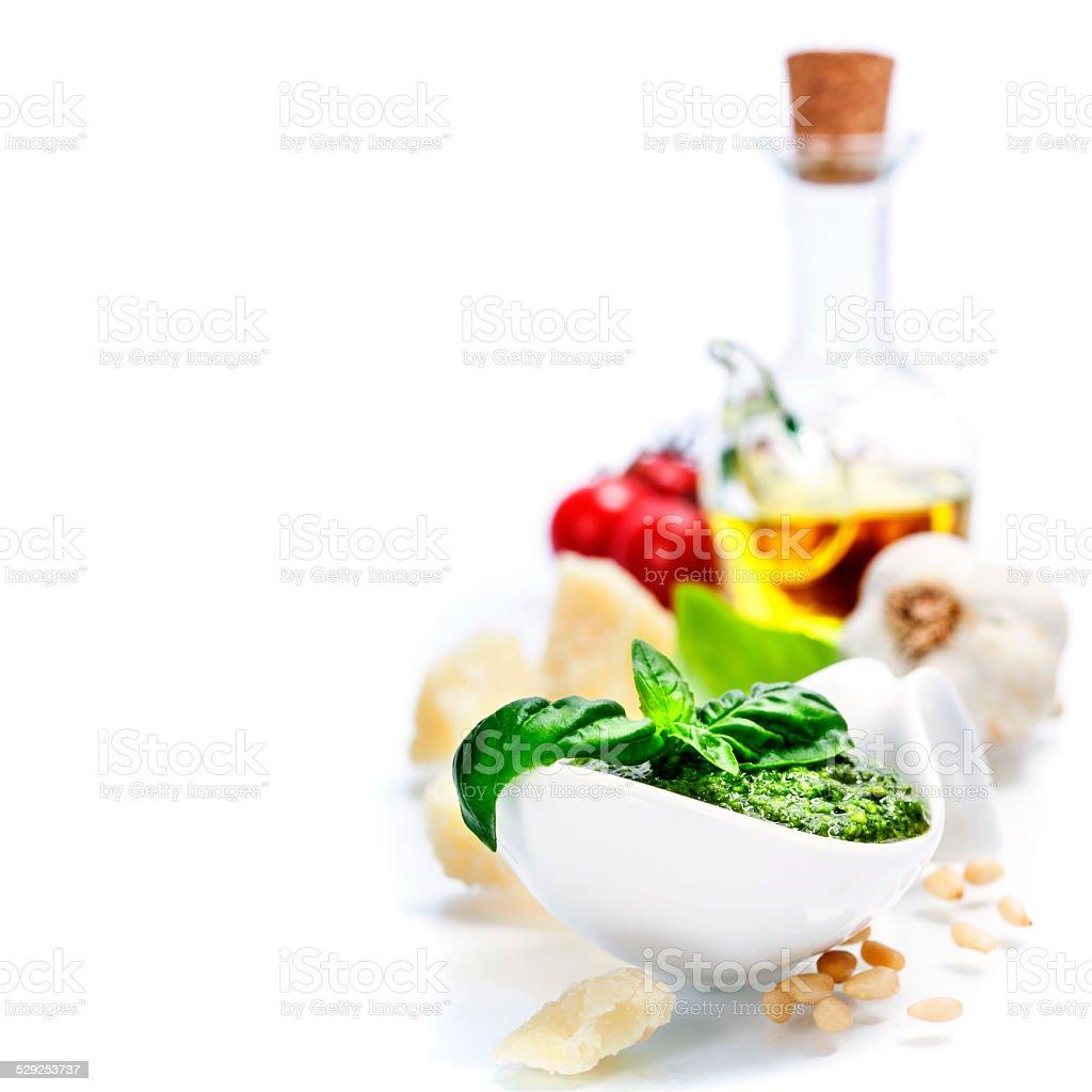 freshly made pesto stock photo