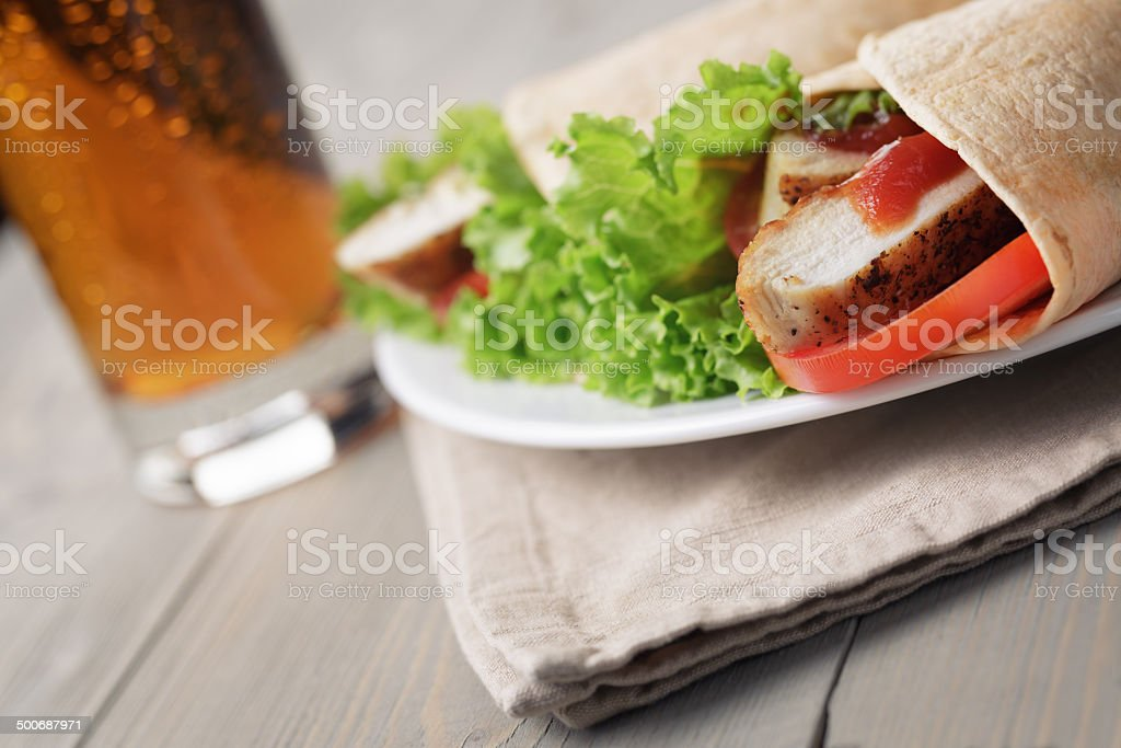 freshly made tortilla wraps with chicken and vegetables royalty-free stock photo