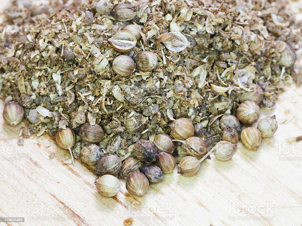 freshly milled and dried coriander seeds royalty-free stock photo