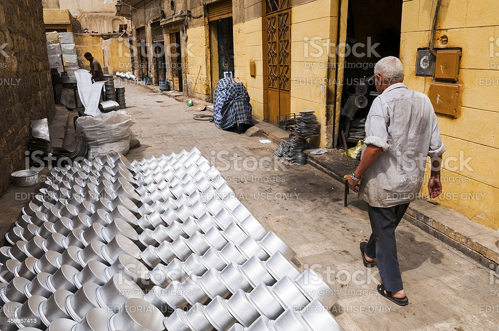 Small metal pot factory in Egypt royalty-free stock photo