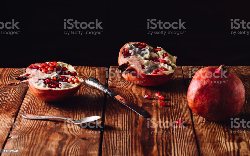 A Freshly Opened Pomegranate Fruit stock photo