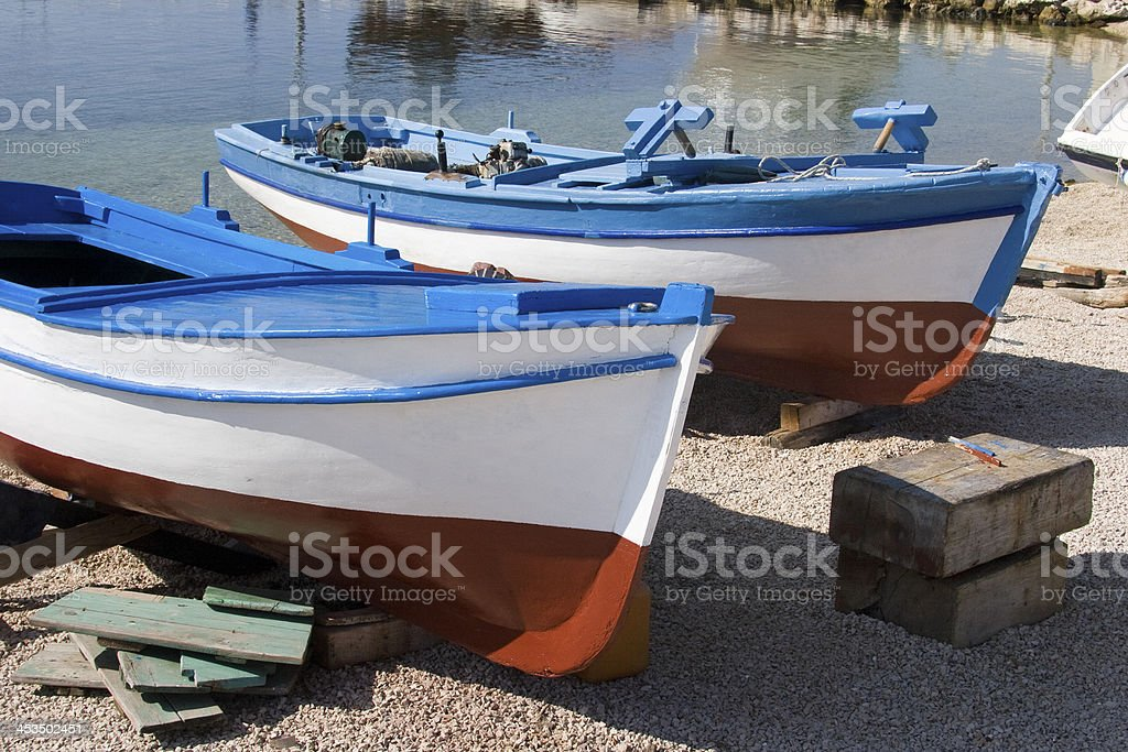 Freshly painted fisherman boats royalty-free stock photo