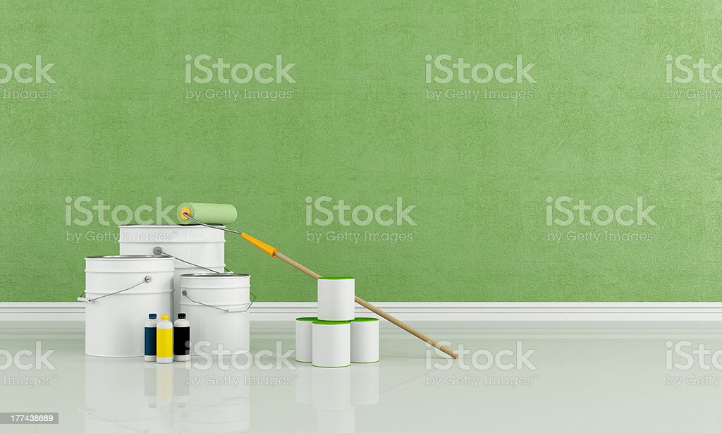 Freshly painted green room stock photo