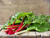 Freshly picked green and red colored swiss chard