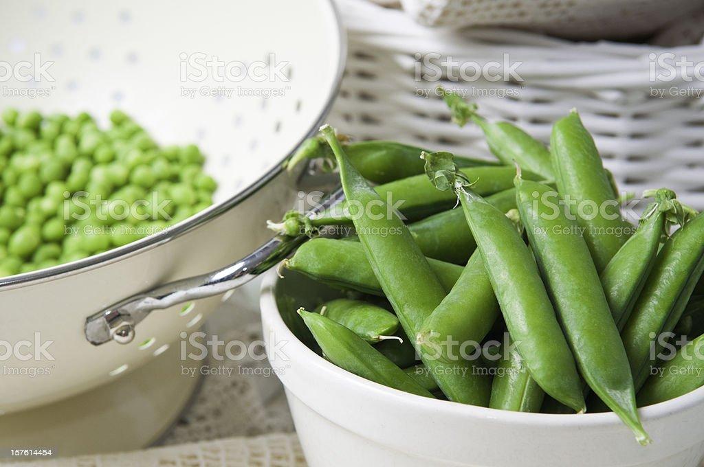 Freshly picked peas. stock photo