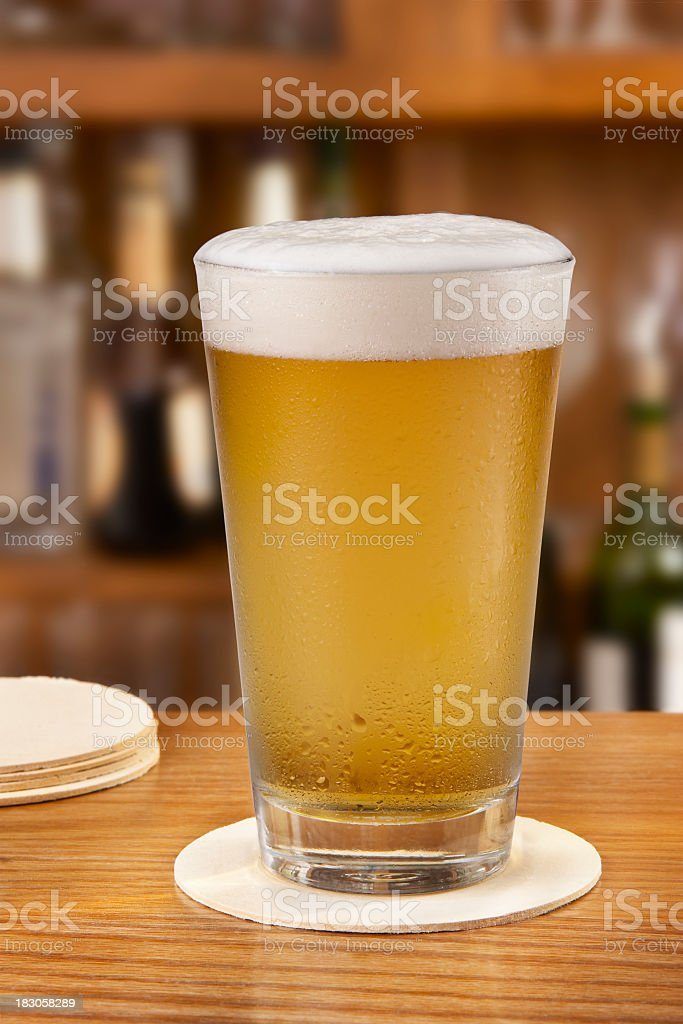 Freshly Poured beer stock photo