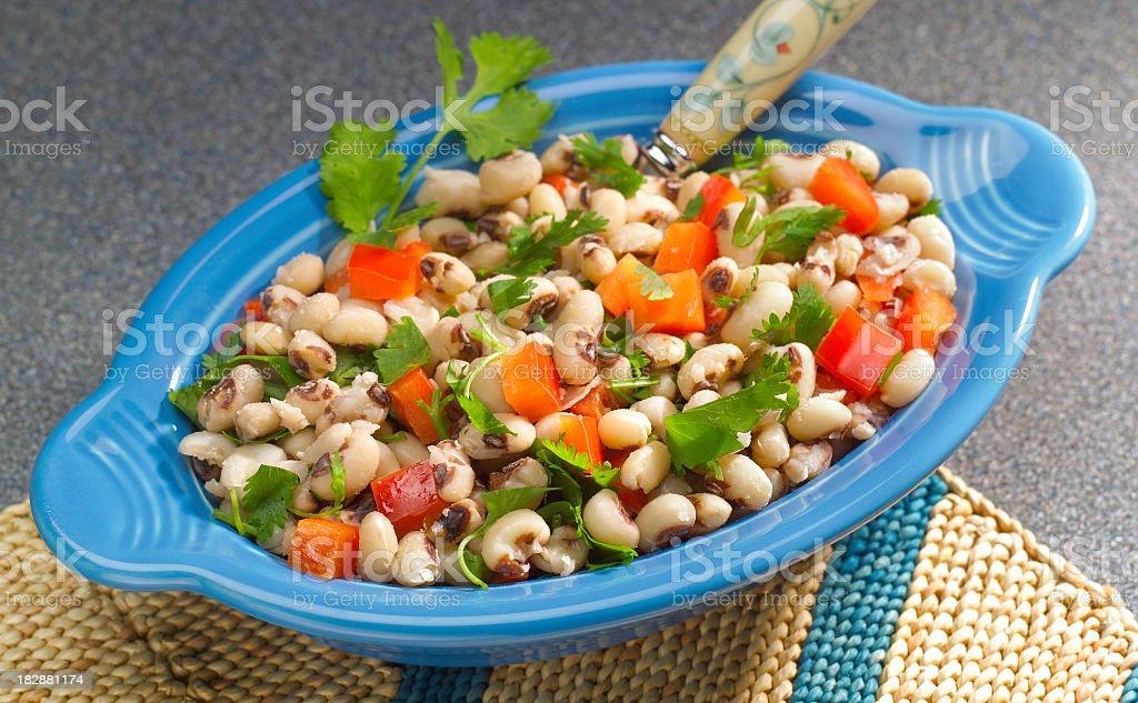 Freshly prepared Black-eyed Pea Salad stock photo