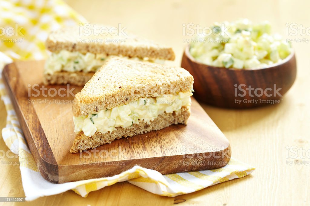 Freshly prepared egg salad sandwich stock photo