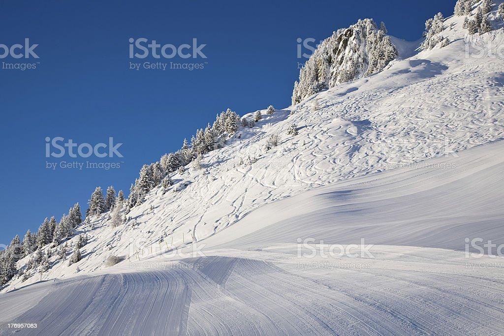 Freshly prepared ski slope stock photo