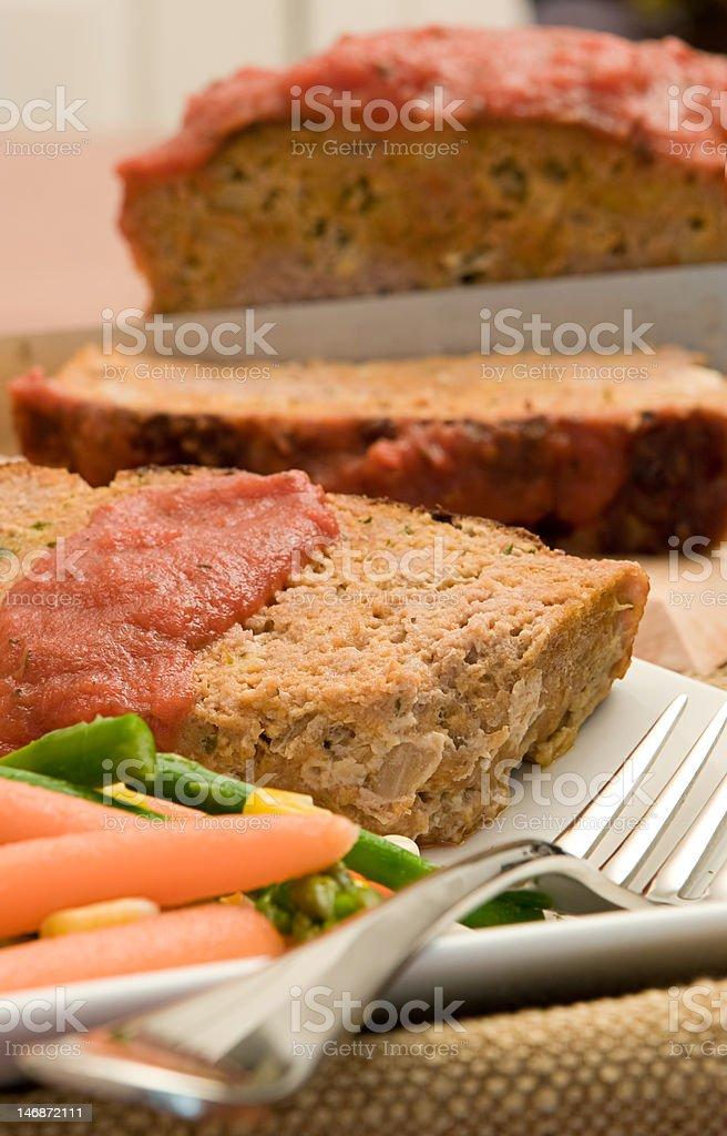 Freshly Prepared Turkey Meatloaf stock photo