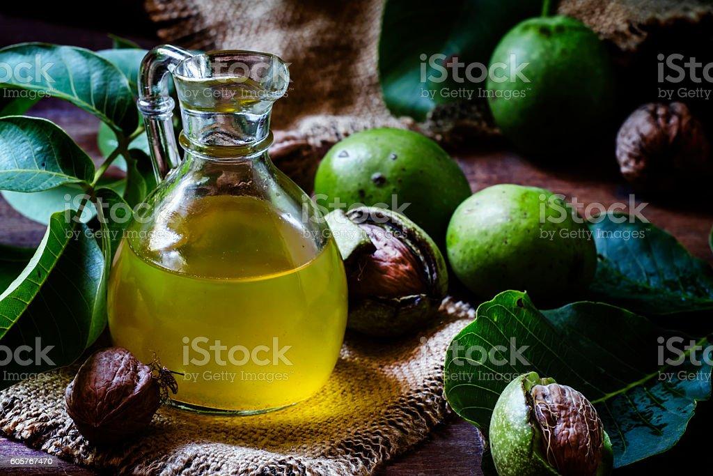 Freshly pressed walnut oil stock photo