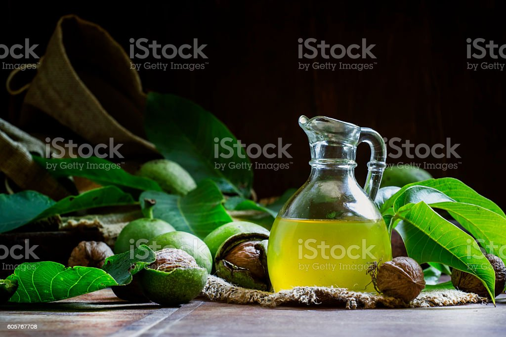Freshly pressed walnut oil stock photo