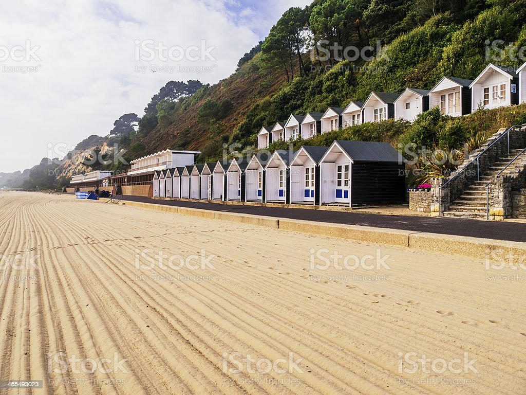 Freshly raked sand on a private beach stock photo