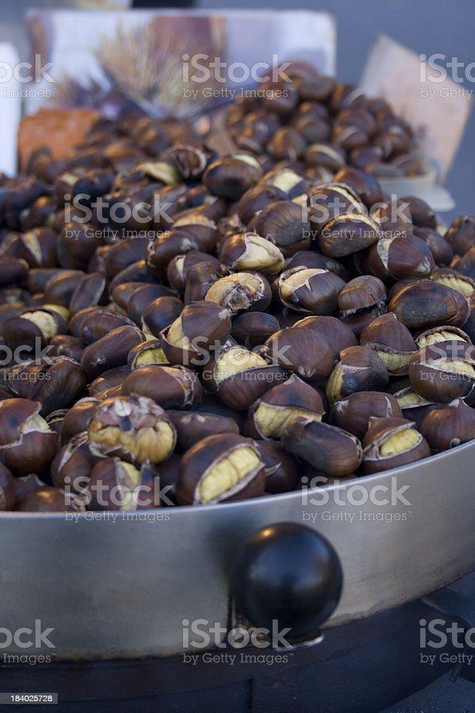 Freshly roasted chestnuts royalty-free stock photo