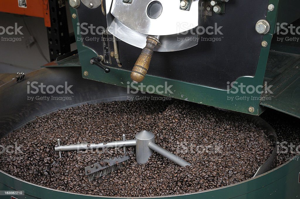 Freshly Roasted Coffee Beans Being Cooled royalty-free stock photo