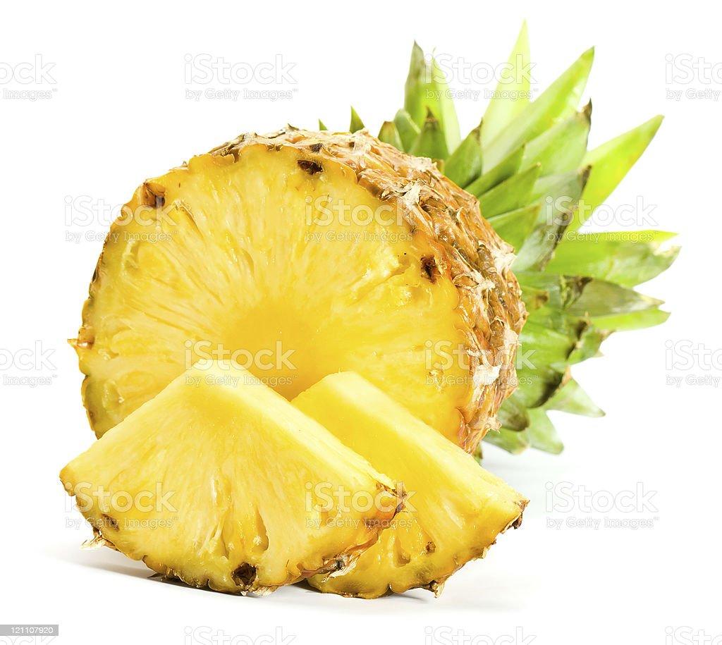 Freshly sliced pineapple wedges royalty-free stock photo