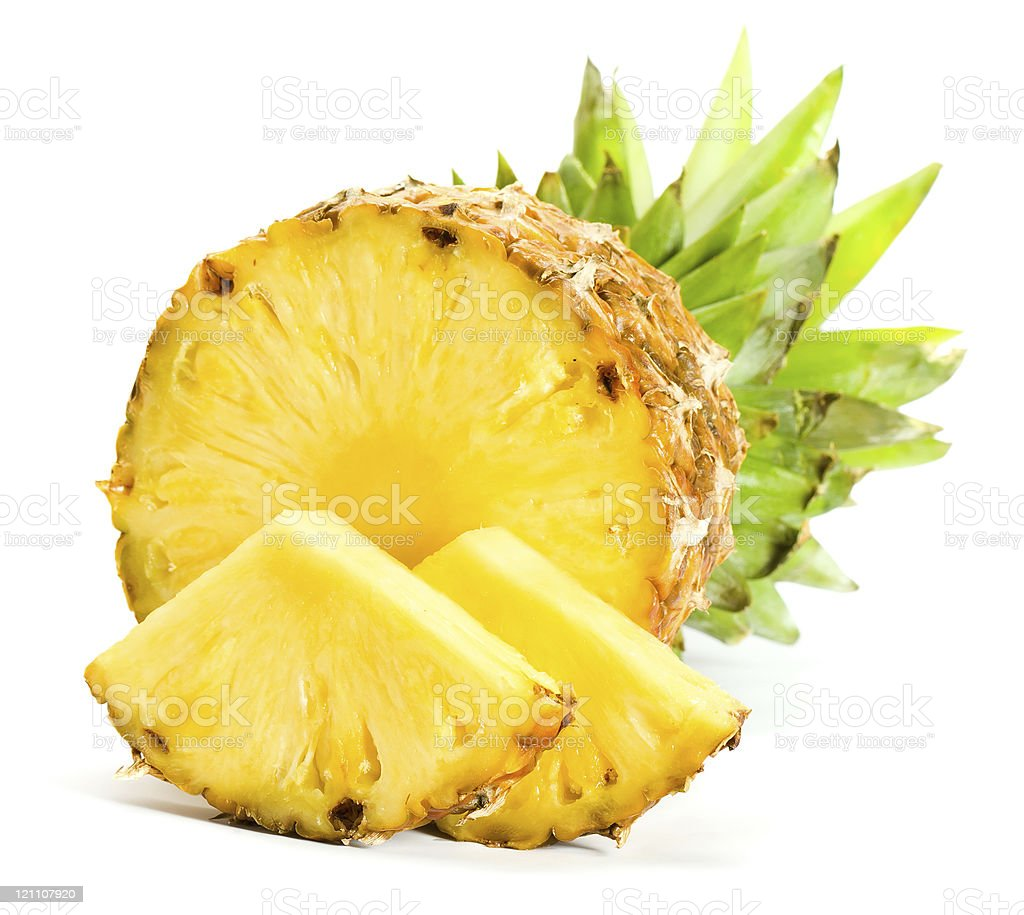 Freshly sliced pineapple wedges stock photo
