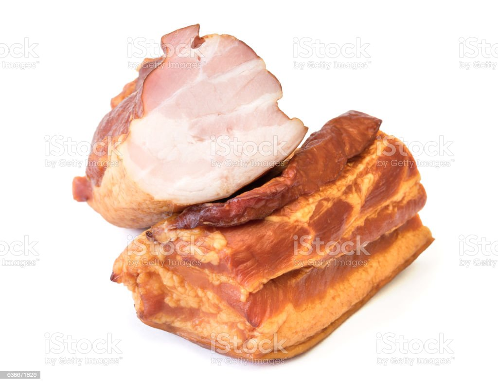 Freshly smoked pork isolated on white background. stock photo