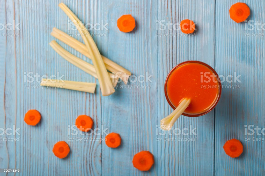 Freshly squeezed Carrot and celery juice stock photo