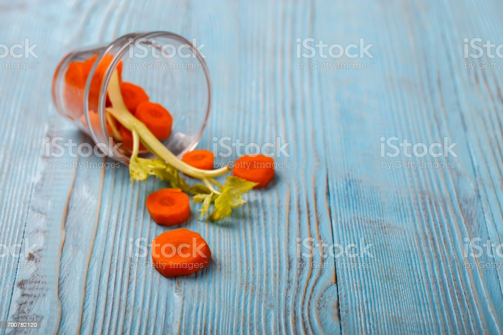Freshly squeezed Carrot and celery stock photo