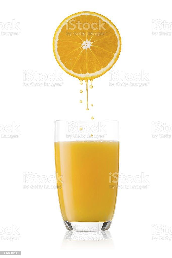 Freshly squeezed orange juice. stock photo