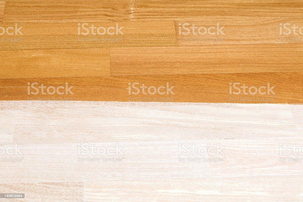 Freshly Stained Hardwood Floor Contrast stock photo