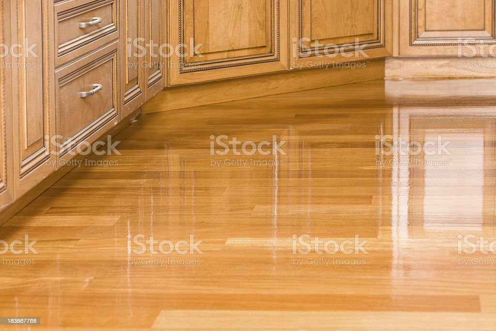 Freshly Stained Kitchen Hardwood Floor royalty-free stock photo