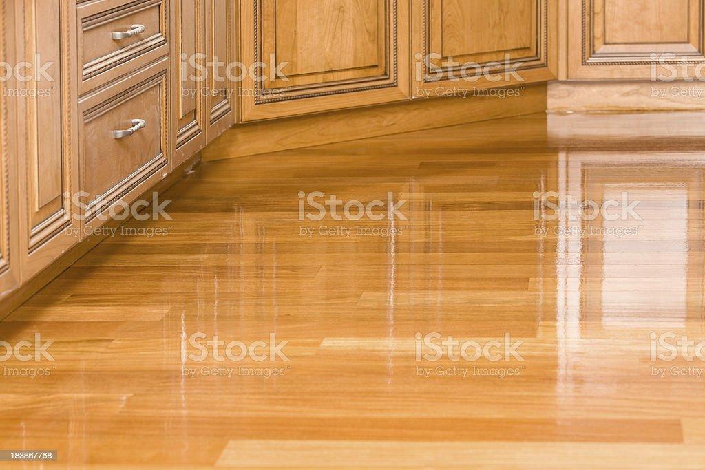 Freshly Stained Kitchen Hardwood Floor stock photo