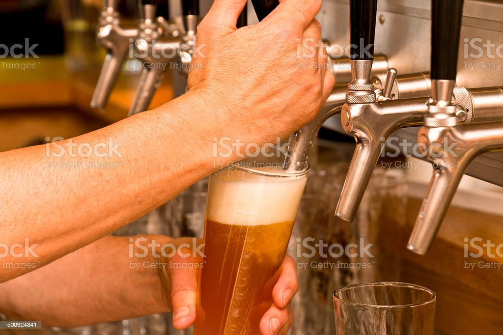 Freshly Tapped Beer stock photo