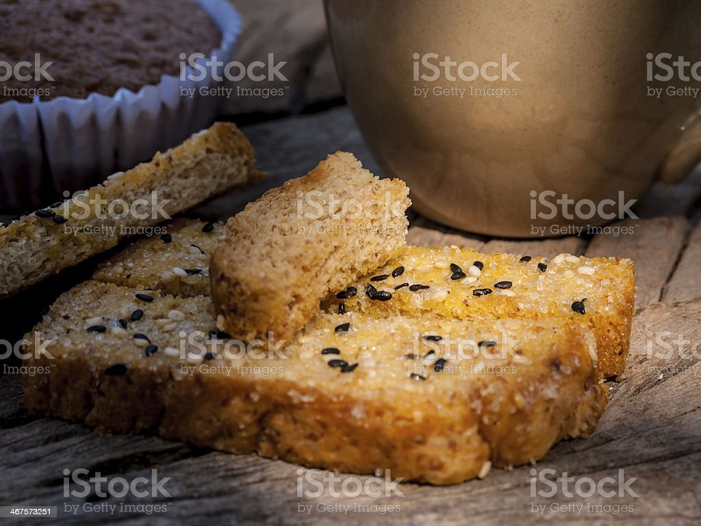 Freshly toasted salt and sesame bread royalty-free stock photo