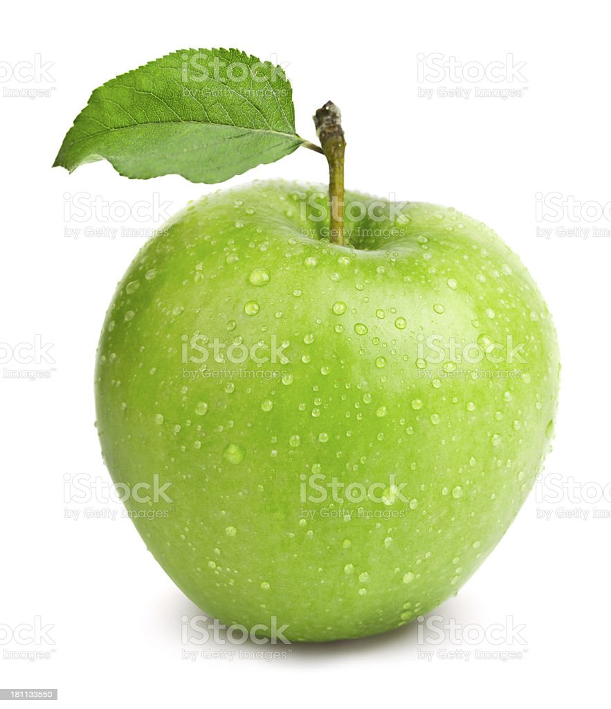 Freshly washed green apple with leaf on white background stock photo